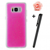 Samsung Galaxy S8 Case,Samsung Galaxy S8 Glitter Case,TOYYM Glitter Luxury Soft Flexible TPU Silicone Gel Rubber Case Cover [Shockproof][Slim-Fit] Bumper Protective Backcover Skin Case for Samsung Galaxy S8-Rose red