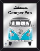 EMPIRE Merchandising 671806 Volkswagen Beetle VW Transporter Camper Van Blue Printed Mirror with Wood-Effect Plastic Frame 30 x 40 cm