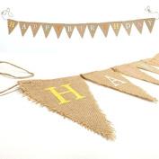 Rustic HAPPY BIRTHDAY Jute Hessian Burlap Bunting Shabby Chic Party Banner