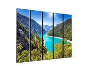 Landscape Balkan Piva Canyon 5 x 30 x 120 CM XXL extra Large 5.Piece Picture on Canvas and Stretcher Frame, Ready to Hang-Our Images on Canvas captivate with their unusual formats and extremely detailed print from up to 100 Mega Pixel High Resolution p ..
