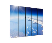 Aeroplane Sky Wings 5 x 30 x 120 CM XXL extra Large 5.Piece Picture on Canvas and Stretcher Frame, Ready to Hang-Our Images on Canvas captivate with their unusual formats and extremely detailed print from up to 100 Mega Pixel High Resolution photos.
