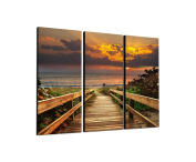 Dunes 3-Piece Wall Picture on canvas and stretcher frame ready to hang – Our Evening Sun Rising Beach Sea Canvas Picture Feature [Ready to Detailed Print up to 100 Megapixels.