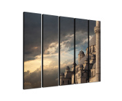 Istanbul Mosque 5 x 30 x 120 CM XXL extra Large 5.Piece Picture on Canvas and Stretcher Frame, Ready to Hang-Our Images on Canvas captivate with their unusual formats and extremely detailed print from up to 100 Mega Pixel High Resolution photos.