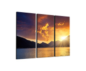 Sunset Montenegro 3 x 40 x 90 CM, Three-Piece Wall Picture on Canvas and Stretcher Frame, Ready to Hang-Our Images on Canvas captivate with their unusual formats and extremely detailed print from up to 100 Mega Pixel High Resolution photos.