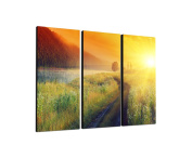 Landscape Sunset 3 x 40 x 90 CM, Three-Piece Wall Picture on Canvas and Stretcher Frame, Ready to Hang-Our Images on Canvas captivate with their unusual formats and extremely detailed print from up to 100 Mega Pixel High Resolution photos.