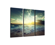 Sea, Beach Breakers 3 x 40 x 90 CM, Three-Piece Wall Picture on Canvas and Stretcher Frame, Ready to Hang-Our Images on Canvas captivate with their unusual formats and extremely detailed print from up to 100 Mega Pixel High Resolution photos.