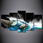 KQS-XYT Modern Giclee Canvas Prints Artwork 3D guitar art 5 sheets / set of living room decorative wall painting (Multi-size optional) , With Borders , SizeA