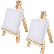 2x Mini Wooden Easels & Canvas - 7cm x 7cm - Table Top Arts & Crafts