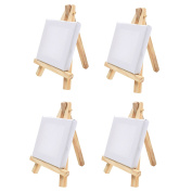 4x Mini Wooden Easels & Canvas - 7cm x 7cm - Table Top Arts & Crafts