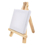 20x Mini Wooden Easels & Canvas - 7cm x 7cm - Table Top Arts & Crafts