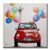 KKYLOVEJ Creative Pure Hand-painted Oil Painting Hot-air Balloon Giraffe Room Decoration Hanging Paintings