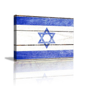 JHYS Blue White Lsrael Flag Pattern Retro Wood grain Decoration Canvas Hang Painting
