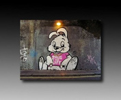 "Banksy Graffiti Canvas Print 100 x 70 CM ""Bunny"" Thug! Image mounted on stretcher frame! Pop Art pictures, Art prints, wall hangings, decorative prints ""Banksy"" Street Art Wall Hangings"