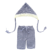 Zhhlinyuan Newborn Baby Boy Girl Costume Crochet Outfits Photography Props Beanie hat+Pants (0- 4months) XDT-469