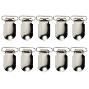 Homyl 10Pieces Metal Suspender Pacifier Holder Clips Ribbon Craft Hook Holder NEW