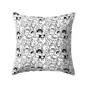 dragonaur Cute Cartoon Cat Print Soft Cushion Cover Throw Pillow Case Home Office Decor size Medium