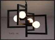 HAIZHEN Pendant Light Creative vintage wrought iron chandelier lamp Pastoral Korean living room bedroom modern minimalist restaurant chandelier Art Contemporary