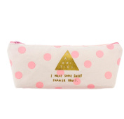 Cosanter Pencil Bag Case Holder Lovely Canvas Pink Dots Pattern Cosmetic Glasses Bag for Women Girls