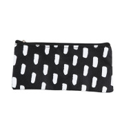 Cosanter Pencil Bag Case Pouch Canvas White Dots Pattern Makeup Glasses Bag for Students Teen Girls