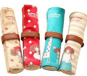 Cosanter 4PCS Rolled Pencil Pouch Case Canvas Lovely Girl Animals Pattern Makeup Bag for Girls Kids