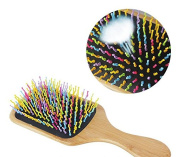 xinyiwei Rainbow Colour Teeth Bamboo Square Health Care Massage Handle Comb Anti-static Hair Comb
