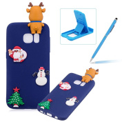 TPU Case for Samsung Galaxy S7,Soft Rubber Cover for Samsung Galaxy S7,Herzzer Ultra Slim Stylish 3D Christmas Santa Claus Deer Series Design Scratch Resistant Shock Absorbing Flexible Silicone Back Case - Dark Blue