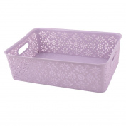 sourcingmap® Plastic Rectangle Hollow Out Design Stationery Sundries Organiser Storage Basket Purple