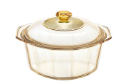 Visions Pyroceram Diamond Casserole with Glass Cover, Brown, 24.4 x 21.5 x 10 cm
