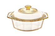 Visions Pyroceram Diamond Casserole with Glass Cover, Brown, 20 x 17.5 x 7 cm