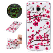 Sycode Luminous Case for Galaxy J5 2016,Scratch-Resistant Bumper Cover for Galaxy J5 2016,Fashion Cool Creative Unique Special Glow in Dark Green Fluorescent Effect Soft Gel Silicone Case for Samsung Galaxy J5 2016 Beautiful Romantic Rosa Plum Blossom ..