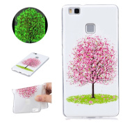 Sycode Luminous Case for Huawei P9 Lite,Scratch-Resistant Bumper Cover for Huawei P9 Lite,Fashion Cool Creative Unique Special Glow in Dark Green Fluorescent Effect Soft Gel Silicone Case for Huawei P9 Lite Beautiful Romantic Pink Cherry Flower Tree Pa ..
