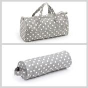 Matching Set - Knitting Bag (fabric handles) & Yarn and Needle Holder Bag (PVC) - Grey Linen Spot