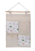 Jellbaby Cotton and linen sweet fresh storage bag door after the bed wall 4 grid hanging bag