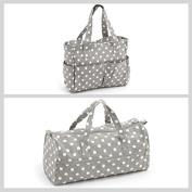 Matching Set - Knitting Bag (fabric handles) & Craft Bag ( PVC) - Grey Linen Polka Dot