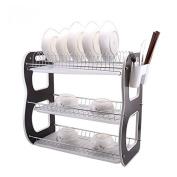 DYF Storage Bowl Rack Household Kitchen Classification Layer Three Drain,43*25*38cm,Black