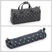 Matching Set - Knitting Bag (fabric handles) & Knitting Pin Soft Case - Charcoal Polka Dot