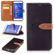 Huawei P8 Lite 2017 Leather Case,Huawei P8 Lite 2017 Wallet Case,TOYYM [Crocodile Skin Pattern] Design Ultra Slim PU Leather Flip Cover Wallet Case with Card Holders and Buckle,Folio Bookstyle Full Body Protection Case Cover with Inner Bumper Backcover ..