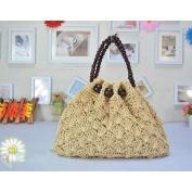 MOXIN Woven bag - Women Crochet Beach Bag ,Casual Shoulder Bag,Round wooden beads handle , C