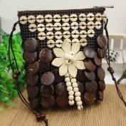 MOXIN Ladies woven bag - coconut shell wallet leisure shoulder bag , coconut coffee