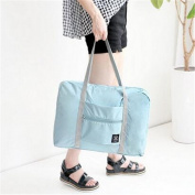 GUJJ Travel waterproof foldable travel bag shopping single men and women shoulder bag-increase organise BAG luggage pouch, light blue