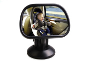 MWYJR View mirror Turn function Clear Safe Simple Secure Instal Back Seat Rear View Fixing Straps Suction Cup Baby Car Mirror , B