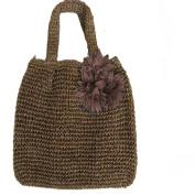 Women's Flower Straw Woven Beach Sea Bag Handbag Tote , D