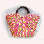 Straw bag - Bright and Colourful Multi-colour. Weave Handbag.Shopping Basket