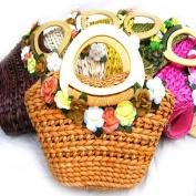 Handmade Straw Knitted Women Handmade Purse Shoulder Bag Handbag , A