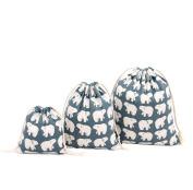 Cdet 3Pcs/Lot Storage Bag S M L Cute Bear Drawstring Bag Finishing Bag Home Supplies Gift Bag