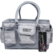 "Everything Mary Deluxe Store & Tote Organiser 34cm x 25cm X8""-Grey & White Damask W/Grey Trim"