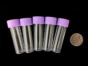 5ml plastic test tubes vials sample containers powder craft with purple screw caps