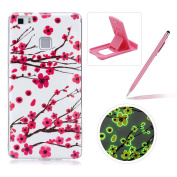 For Huawei P8 Lite Silicone Case,Herzzer Creative Unique Stylish [Plum Blossom] Drawing Pattern [Night Luminous] Effect Fluorescent Glow In The Dark Ultra Slim Soft Silicone Gel TPU Rubber Back Cover for Huawei P8 Lite + 1 x Free Pink Cellphone Kicksta ..