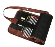 LAAT 1PC 20x49cm Cosmetic Bag Brush Storage Backpack Sketch Pencil Case Pen Bag Student Storage Pouch Canvas Wrap Holder with 48 Holes