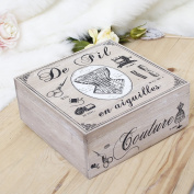 French Themed Wooden Sewing Box - Ideal Storage Solution For Any Style Home - Great Gift - W22 x H9 x D22cm